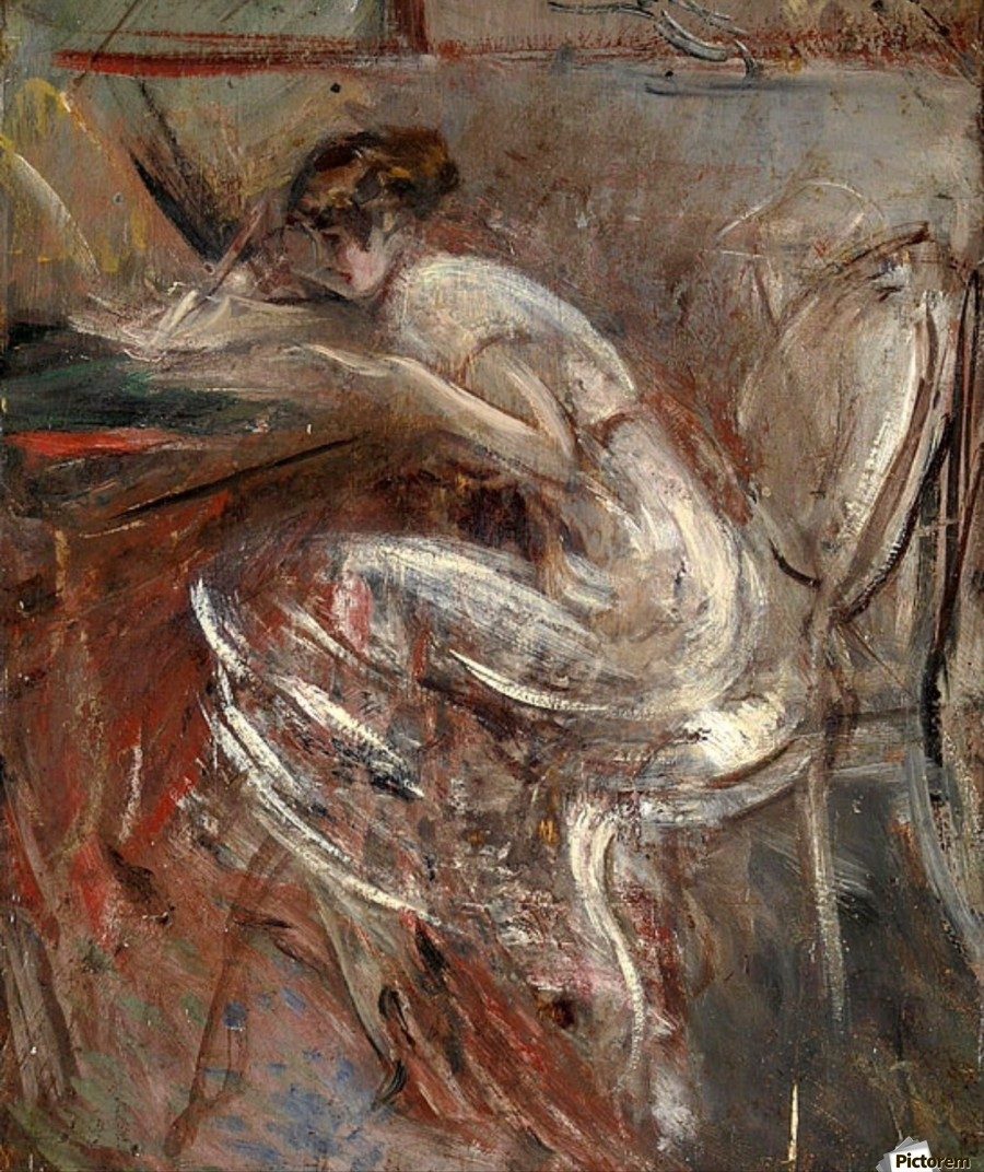 GIOVANNI BOLDINI # 14130 STUDY OF YOUNG WOMAN WRITING