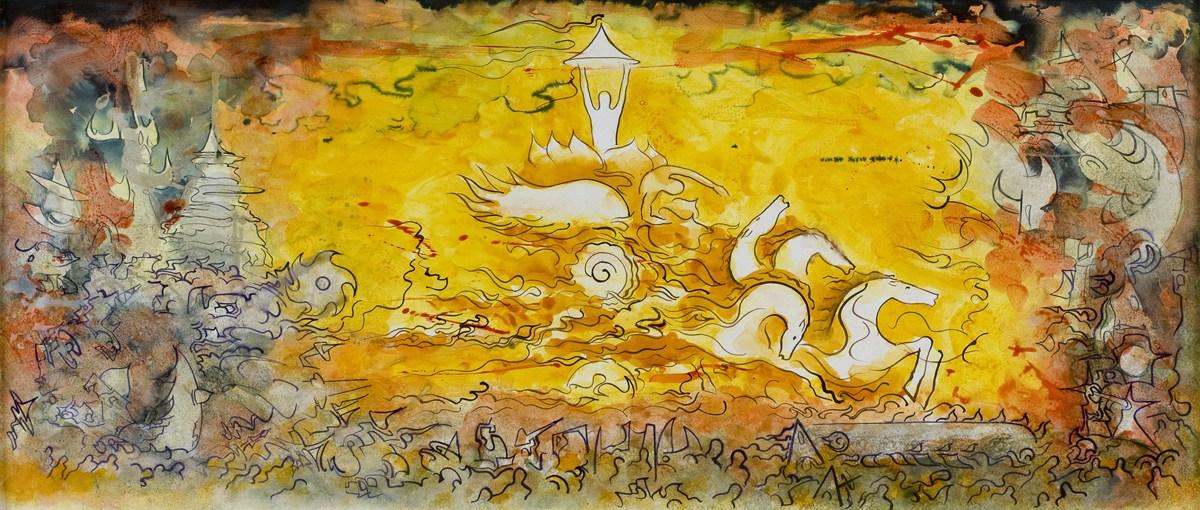 Khrishnas-chariot-ink-on-panel