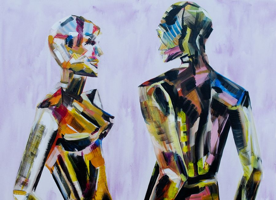 Do you come here often, Painting of mannequins.
