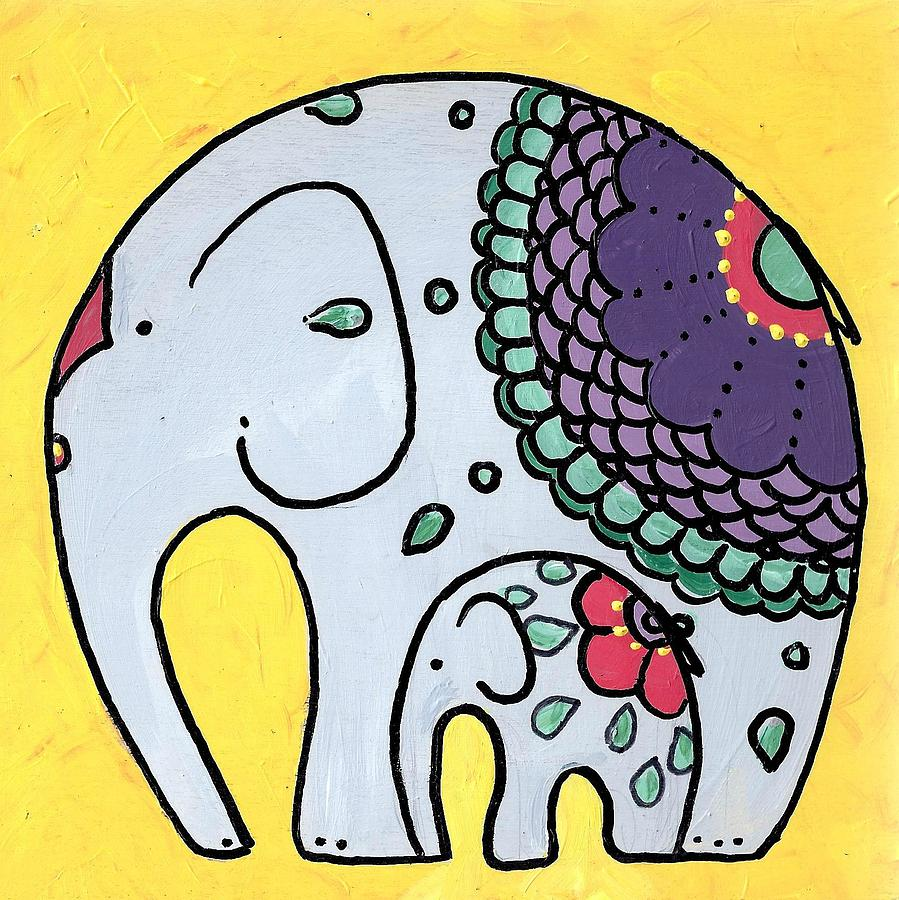 elephant-and-child-on-yellow-caroline-sainis
